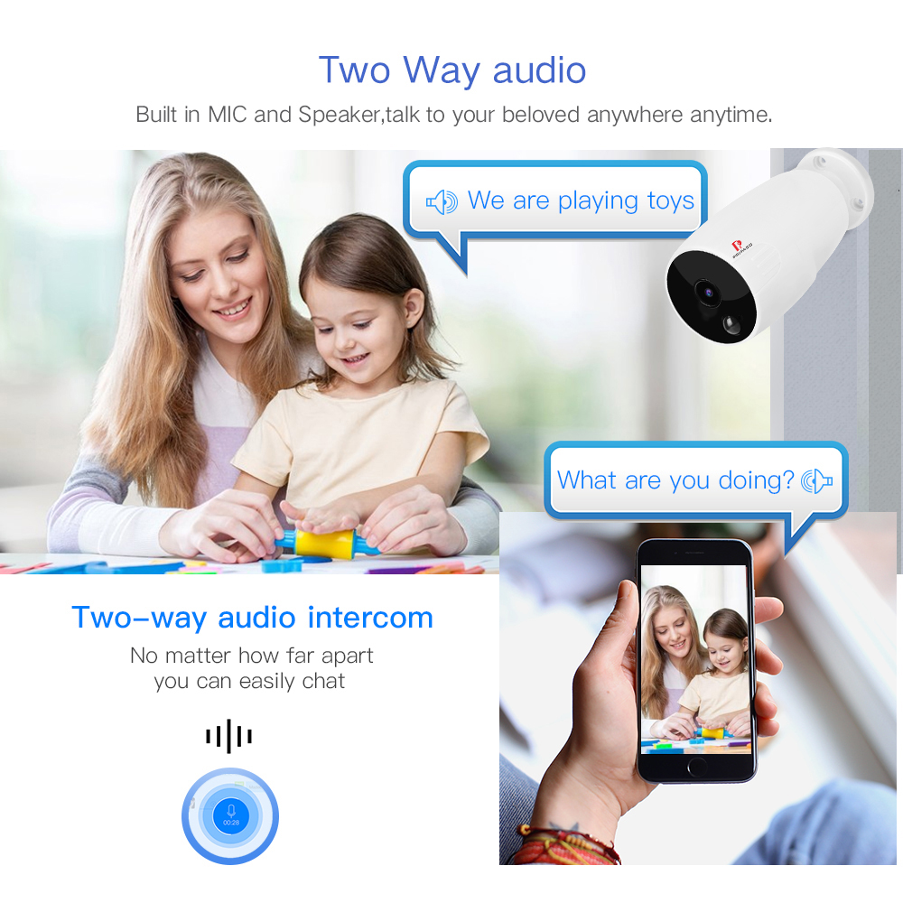 720P Battery Camera video surveillance Rechargeable Battery Camera Low power Intelligent WIFI Camera Outdoor Security Cam in Surveillance Cameras from Security Protection