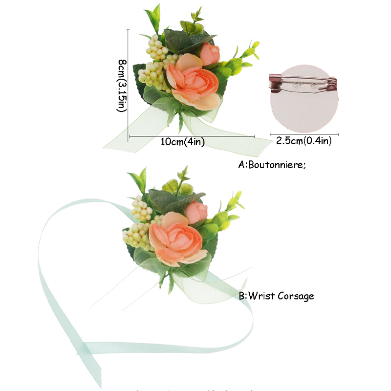 Silk Flowers Wedding Wrist Corsages Groom Flower Boutonniere Groom Man Buttonhole Marriage Supplies in Artificial Dried Flowers from Home Garden