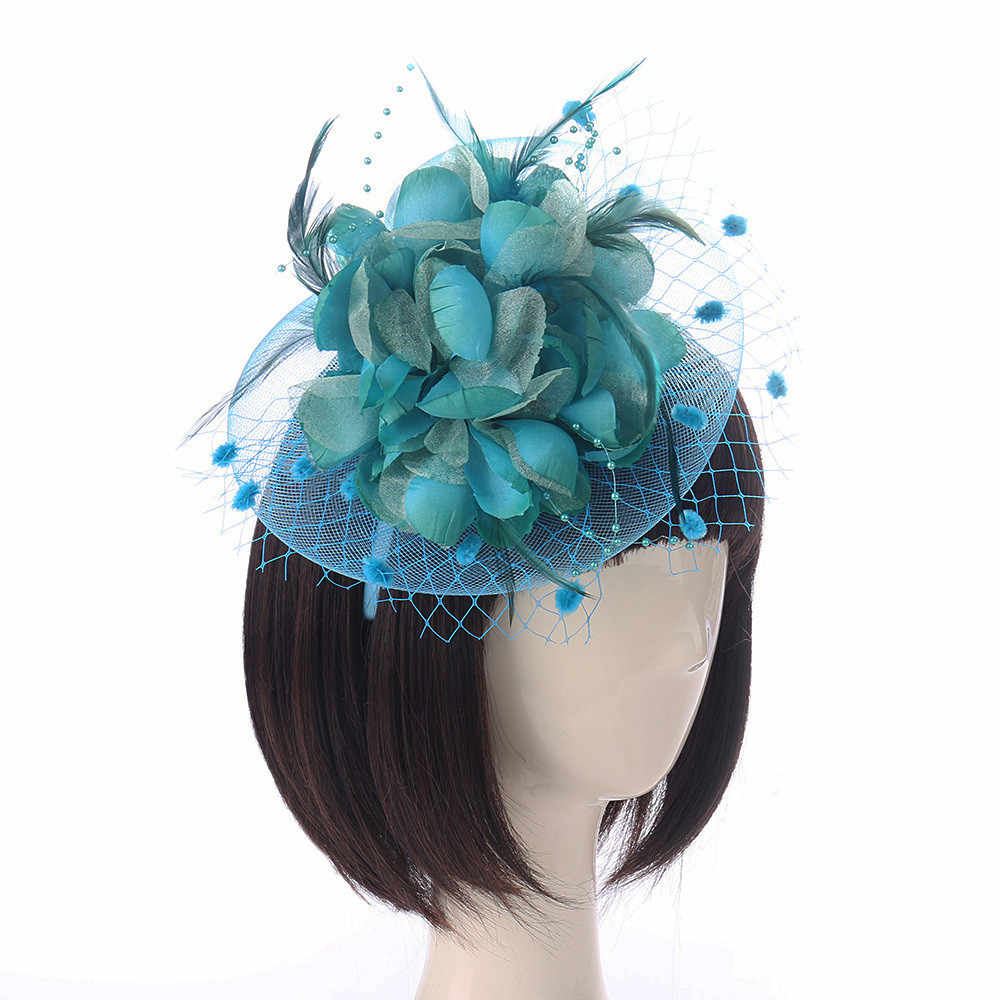 c783a4cd844e4 ... Fashion Women Fascinator Penny Mesh Hat Ribbons Feather Party Hat Hair  Clip Headwear Dress Fedoras Wedding