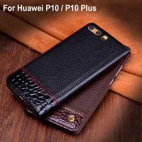 Genuine Leather Case cover For Huawei P10 / P10 Plus case back case cover For Huawei P 10 Plus back Leather cover Shell