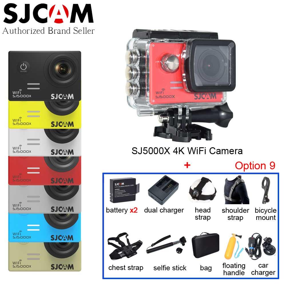 Prix pour Sj5000x 4 k elite origine sjcam wifi sport action caméra + 2 piles de rechange + selfie bâton + de nombreux accessoires + sac de rangement + chargeur de voiture