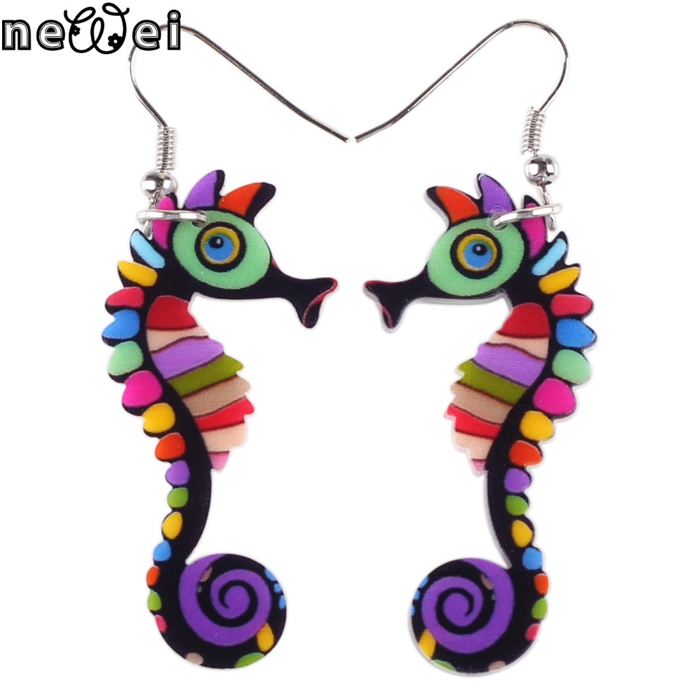 Newei drop hippocampus long earrings acrylic pattern new 2017 spring summer girls woman jewelry accessories animal earrings