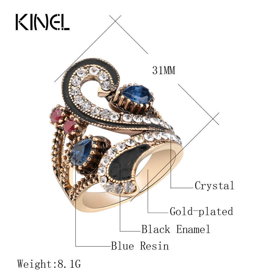 Hot Vintage แหวนผู้หญิงสี Gold Punk ตุรกีเครื่องประดับที่มีสีสันเรซิ่นสีดำแหวนของขวัญอุปกรณ์เสริม 2017 ใหม่