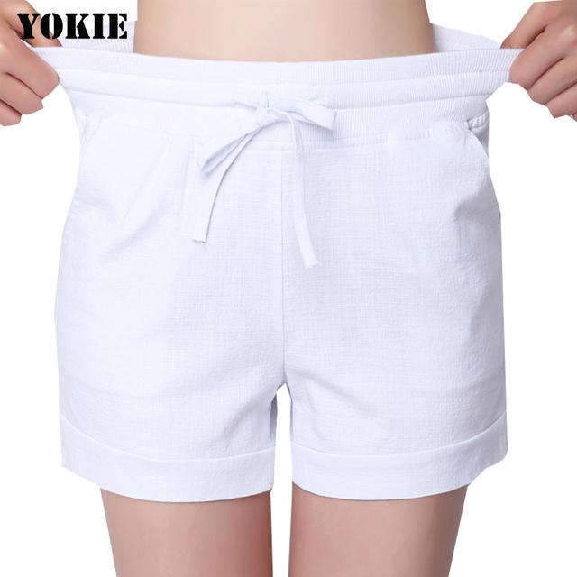S-3XL shorts De cintura Alta das mulheres de linho de algodão solto cordão causal carga pantalones cortos mujer feminino mulheres calças