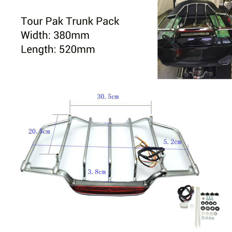 Chrome LED Light Air Wing Trunk Luggage Mounting Rack For Harley Tour Pak Trunk Pack Electra Street Glide trunk luggage rack with built in light for harley davidson hd air wing tour pak