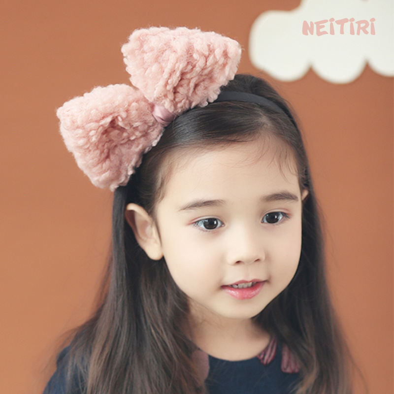 Korea Winter Hair Accessories Lovely Wool Bow Knot Flower Hairband for Girls Crown Headband Hair Band Princess 4