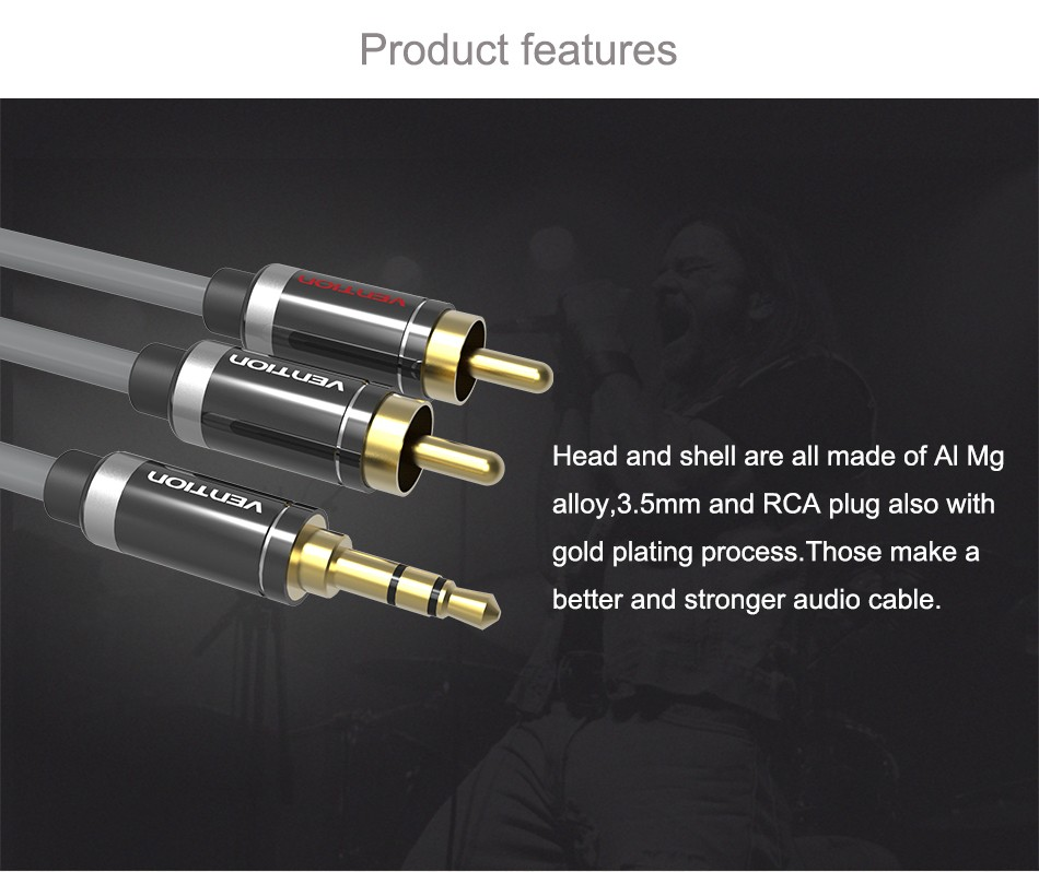 Vention RCA Audio Cable 3.5mm Jack to 2 RCA AUX Cable 2RCA Cable For Home Theater iPhone Headphone DVD 1m 2m 3m 5m 3
