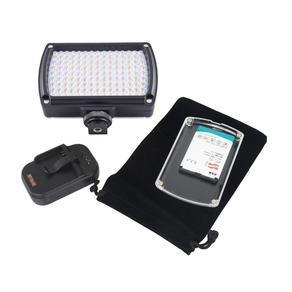 Prix pour 120 LED Vidéo Lumière XH-120 Lampe 9 W 850LM Dimmable pour Caméscope De Mariage DSLR Caméra avec 2500 mAh Batterie AC adaptateur