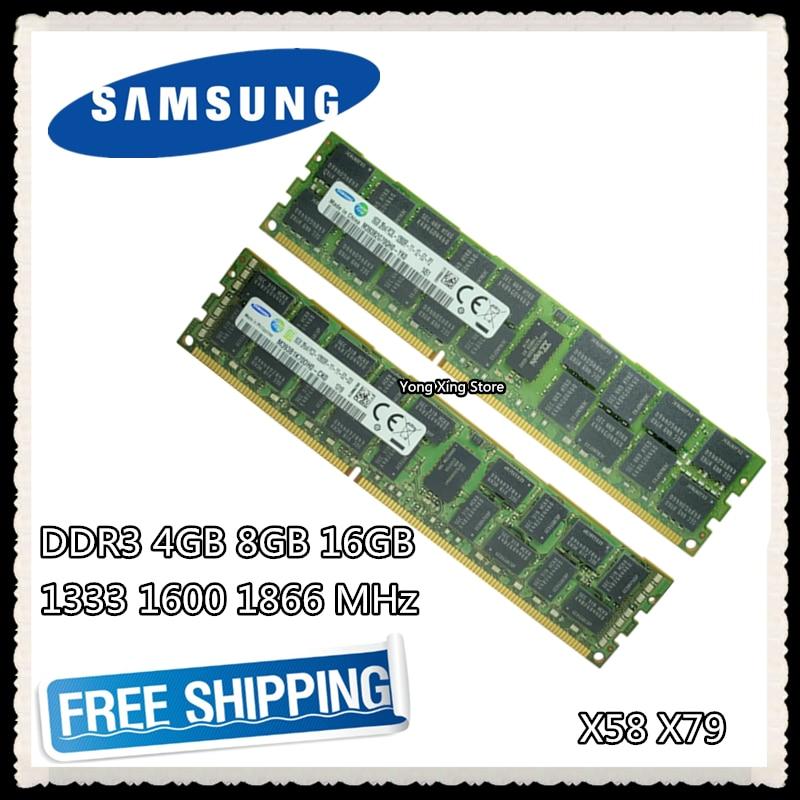 Samsung DDR3 4 GB 8 GB de memória de 1333 GB servidor 1600 1866 MHz ECC REG 16 DDR3 PC3-10600R 12800R 14900R registrar RIMM RAM X58 X79