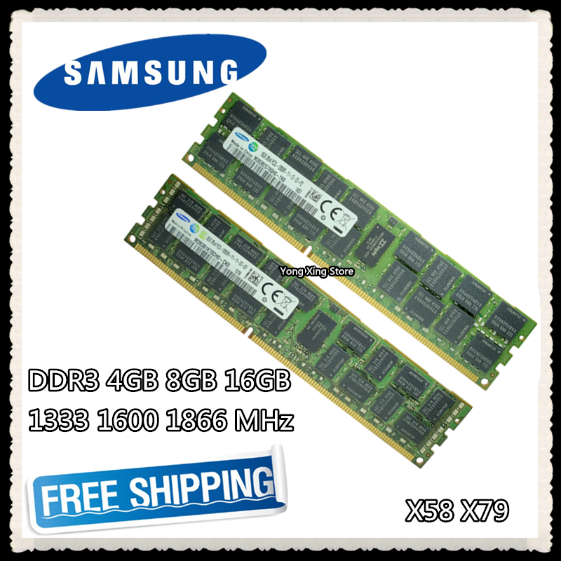 Samsung ddr3 4 gb 8 gb 16 gb memória do servidor 1333 1600 1866 mhz ecc reg ddr3 PC3-10600R 12800r 14900r registro rimm ram x58 x79