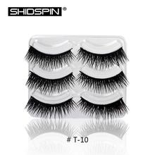 3 Pairs/lot Eyebrows False Eyelashes Kit Thick Eyelash Cross Lashes Black Long Natural Handmade Makeup Fake Eyelashes T10