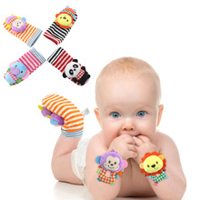 Fashion Infant Rattles Sock Toy Handbell Cartoon Animal Baby Foot Wrist Strap Plush Socks Toys For