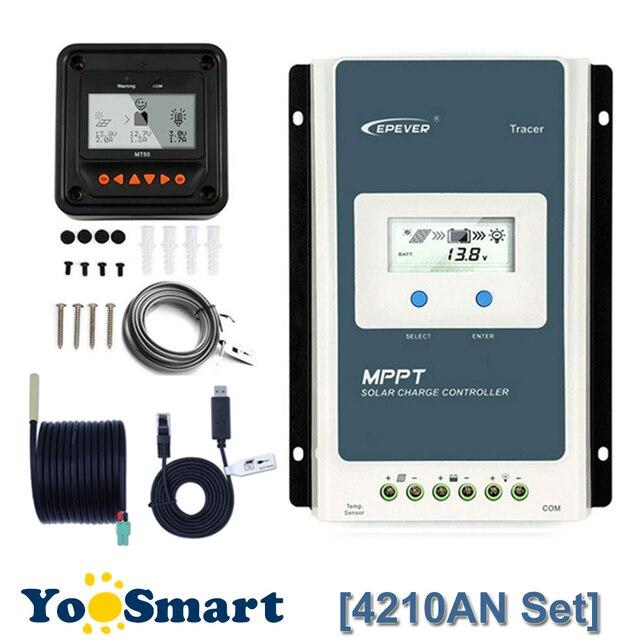 Epever TracerAN MPPT 40A Solar Laderegler 12V 24V LCD Diaplay Solar Laderegler 4210AN Mit MT50 TS R RS485 Boden