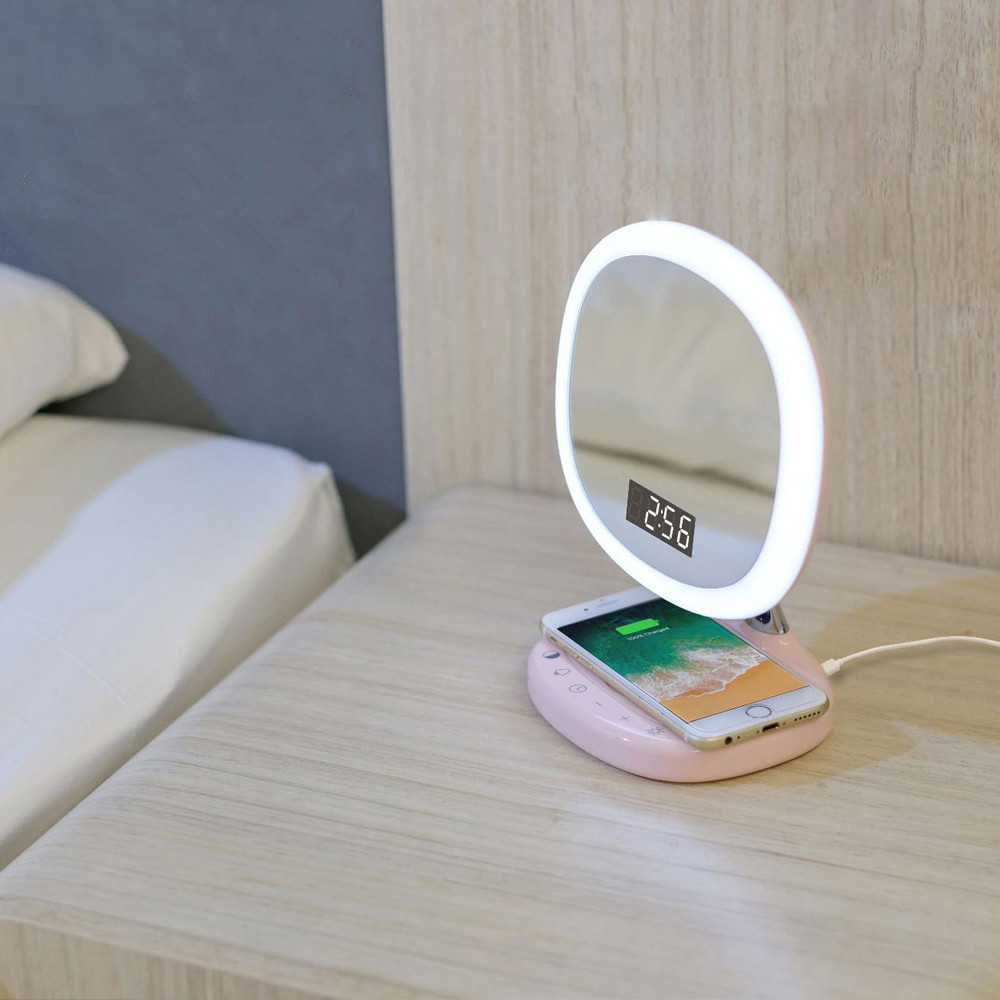 Multifunction Make Up Lamp Led Qi Pad Charging Wireless Cell Phone Charger Holder Table Stand Foldable Light For Iphone X8 Fashionable In Style;