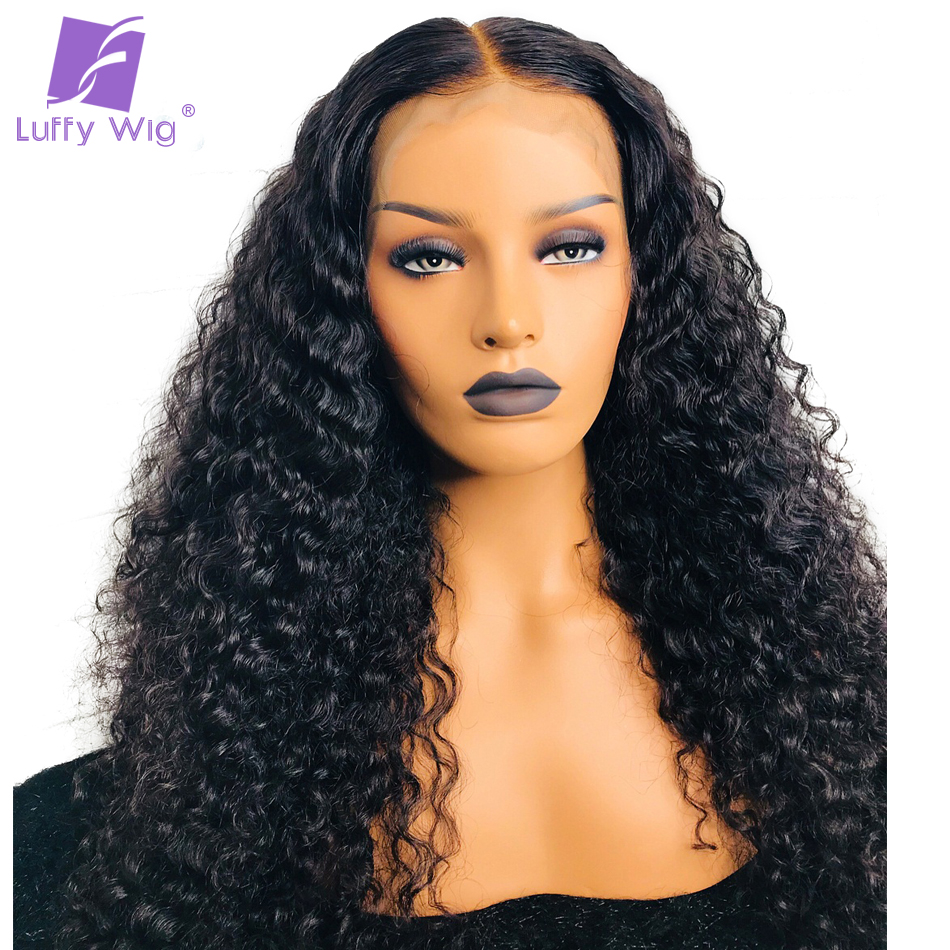 Luffy Natural Color Brazilian Non Remy Human Hair 13*6 Curly Lace Front Human Hair Wigs For Black Women 24 Inches 180% Density