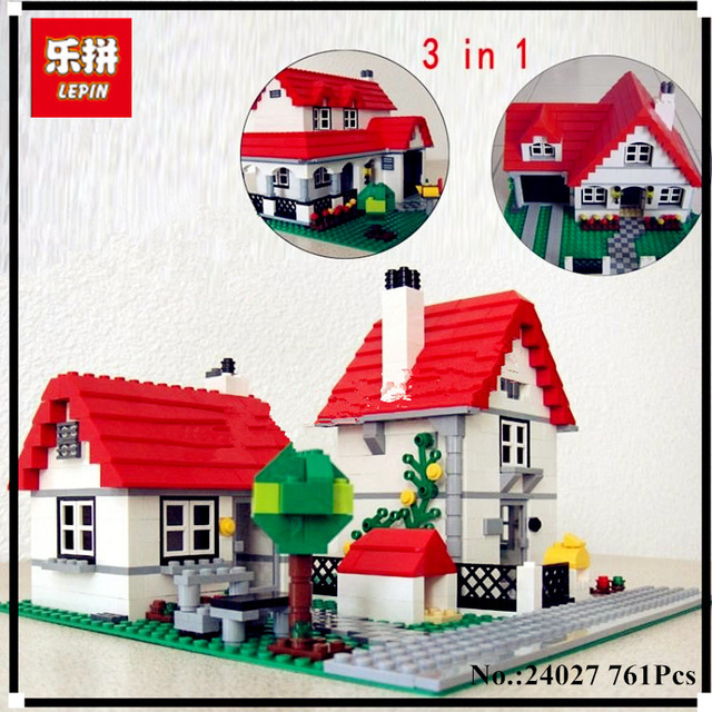 In Stock Lepin 24027 761Pcs Building Series American Style House Set children Educational Building Blocks Brick Toy 4956 72pcs educational building blocks set