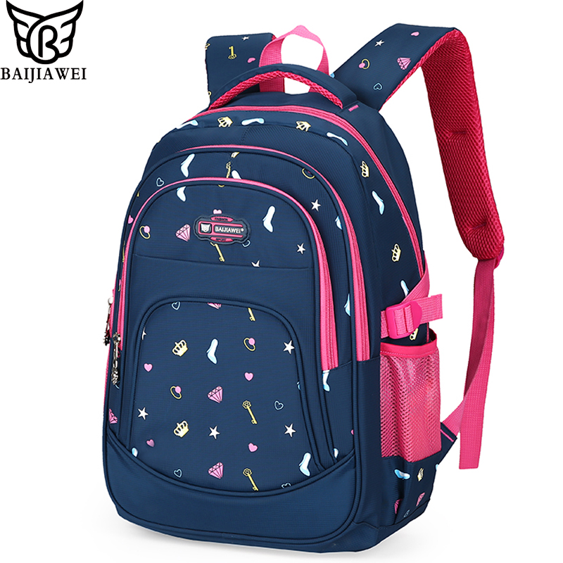 BAIJIAWEI New Arrival Children Backpack Primary School Bag for Boys Girls Kids Backpack Big Capacity Waterproof Nylon Backpacks