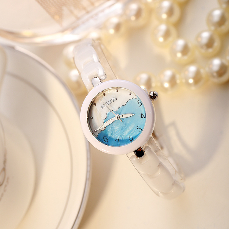 Girl Quartz Wristwatch White Ceramic Belt Women Watch Fashion Clock Fashion School Student Watch Round Dail