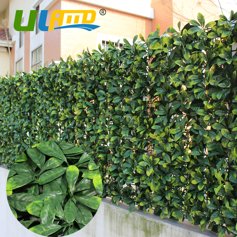 Outdoor Artificial Yellow Laurel Hedges Screens 10 X10 Uv Proof Plastic Plant Fence Panel Ornamental Garden Fencing G0602a003 In Plants From Home