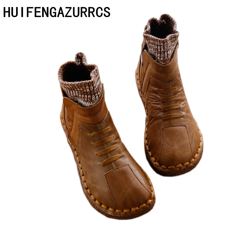 HUIFENGAZURRCS-Pure handmade boots,Genuine leather and Stitching of knitting wool shoes,The retro art mori girl shoes,3 colors huifengazurrcs 2018 new spring mori girl soft bottom leisure shoes genuine leather handmade shoes japanese retro shoes 4 colors