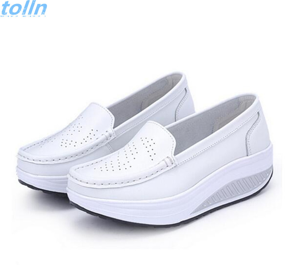 2017 Women Large base platform leather shoes female flats shoes girl casual comfort low heels flat loafers nurse slip on shoes  spring shoes women flat heel round toe casual comfort flats pregnant loafers slip resistance low heels all match