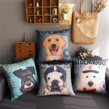 Nordic Modern Cartoon Dog Lovely pattern 8744 Linen Cushion Cover Home Decorative Pillow Case Sofa Chair Waist Pillow cover