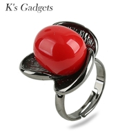 KCALOE Big Rings For Women Red Simulated Coral And White Shell Pearl Black Gold Plated Black