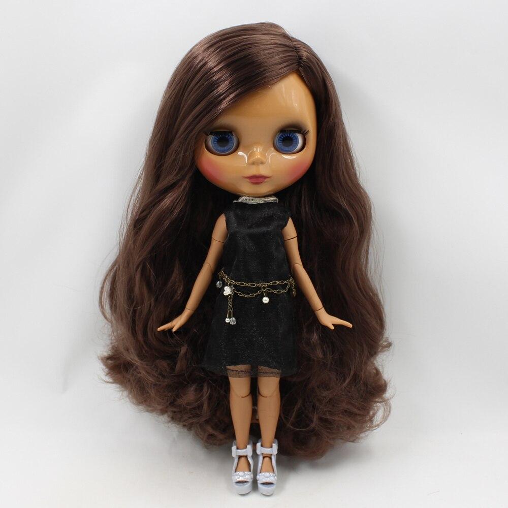 Nude Blyth doll brwon curly hair side part Joint body 30cm fashion bjd 1/6 blyth doll toysNude Blyth doll brwon curly hair side part Joint body 30cm fashion bjd 1/6 blyth doll toys