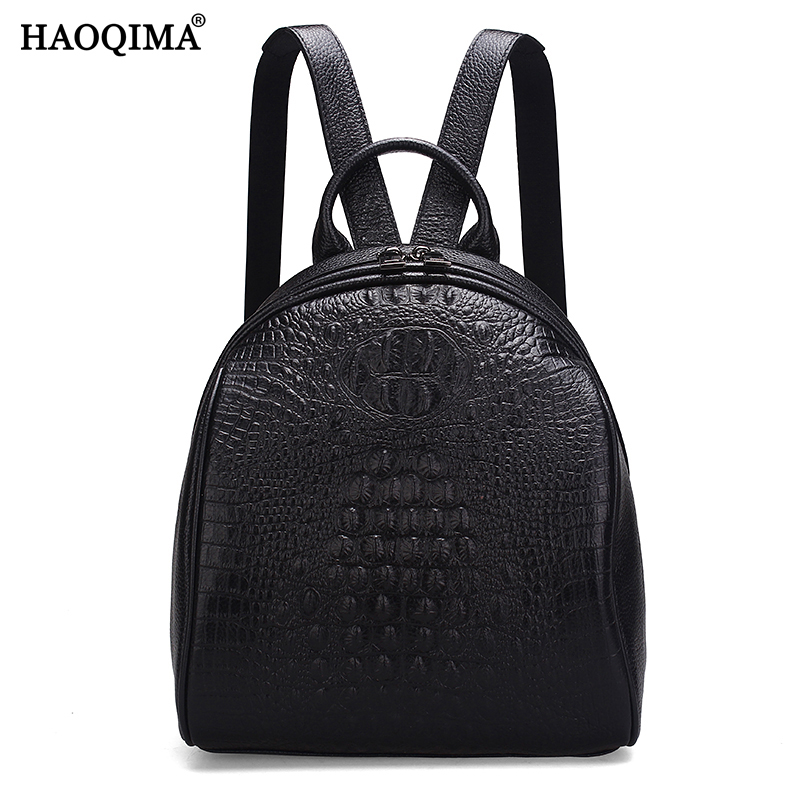 HAOQIMA Female Crocodile Pattern Genuine Leather Luxury Brand New Designer 2018 Real Cowhide Women Backpack Girl School Bags new arrival women genuine leather backpack young lady real leather backpack luxury female school bags with simple design e143