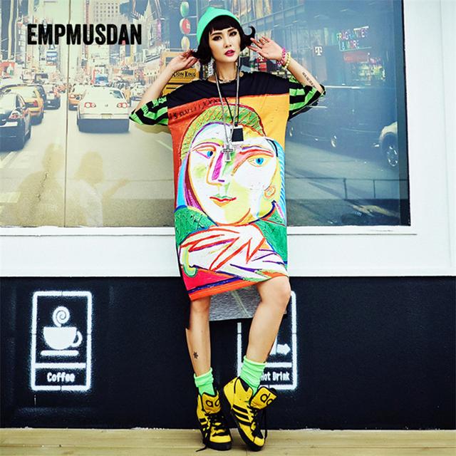 Mulheres marca De Algodão T-shirt de Manga Curta Longa t camisa Hip Hop Tops & T Streetwear impresso Camisetas O Pescoço t-shirt das mulheres