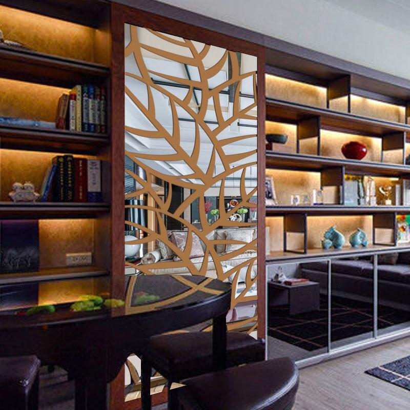 3D Acryl Spiegel Decoratieve Muur Sticker Plant Patroon Spiegel Muursticker Home Woonkamer Muur Kamer Mode Groene Decoratie