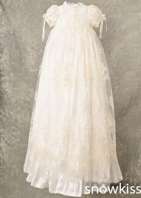 Larga blanco / marfil encaje bebé infantil niños niñas Formal vestido de bautizo bautismo traje vestido