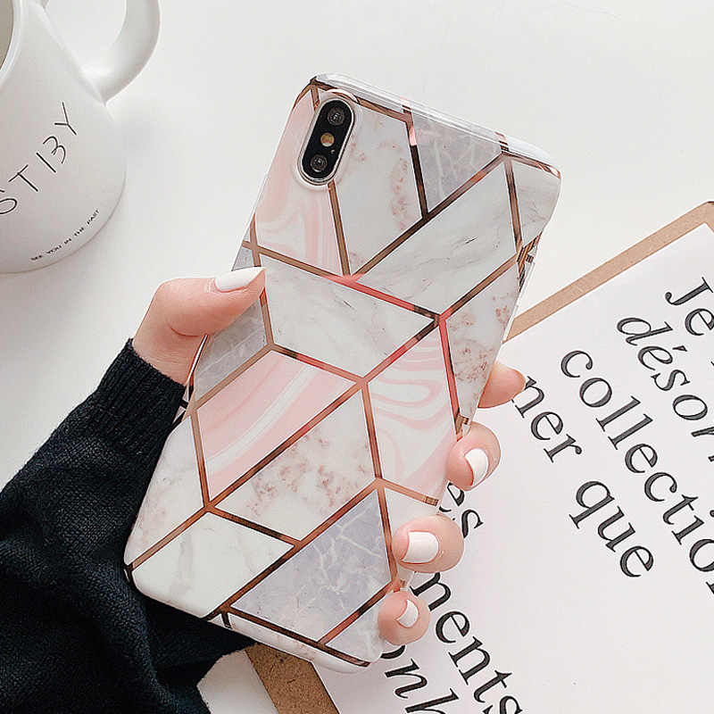 Moskado Geometric Marble Texture Phone Case For iPhone 7 8 6 6s Plus X XR XS Max Soft IMD Silicone Stone Image Back Cover Coque