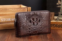 100% genuine alligator skin leather long big size men wallet purse double zipper closure alligator heard skin leather men clutch