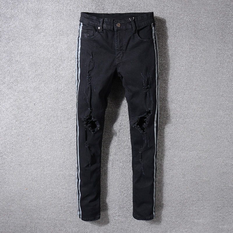 High Street Fashion Men's Jeans Black Color Gray Stripe Printed Punk Pants Ripped Jeans Men Balplein Brand Skinny Hip Hop Jeans high quality mens jeans ripped colorful printed demin pants slim fit straight casual classic hip hop trousers ripped streetwear