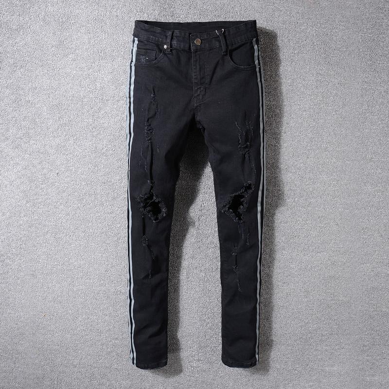High Street Fashion Mens Jeans Black Color Gray Stripe Printed Punk Pants Ripped Jeans Men Balplein Brand Skinny Hip Hop Jeans