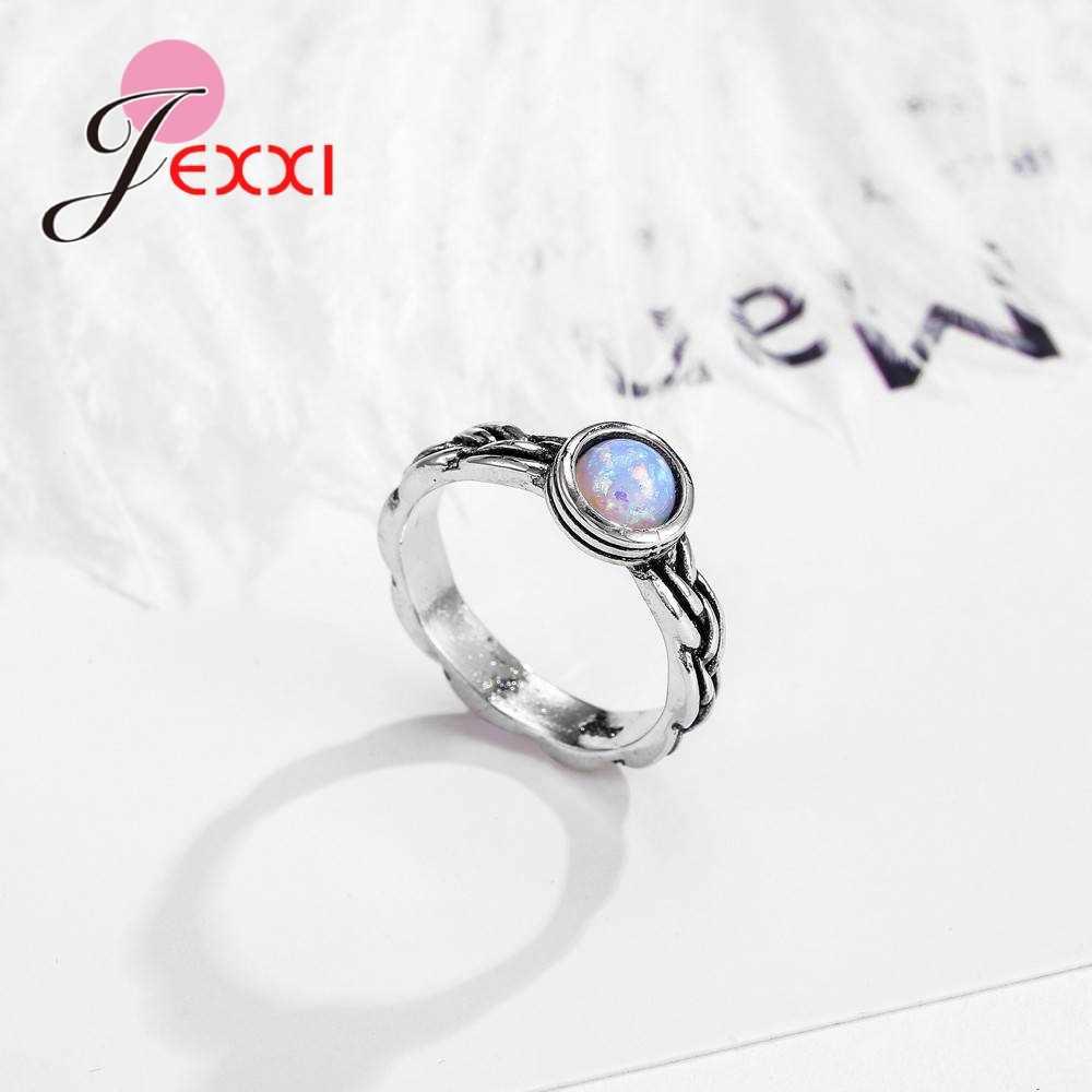 Nova chegada legal feminino festa noivado jóias 925 prata esterlina anel de dedo do laço com aaa redondo opala atacado