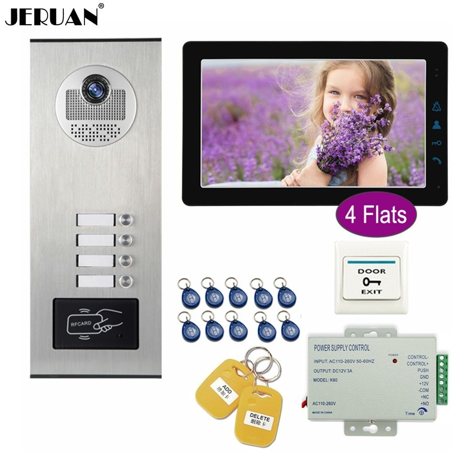 JERUAN 9 inch LCD Video Doorbell Door Phone Intercom System Kit HD RFID Access Camera For 4 Households Apartment FREE SHIPPING jeruan home wired 9 inch lcd video intercom door phone doorbell unlock intercom system kit hd ir camera in stock free shipping