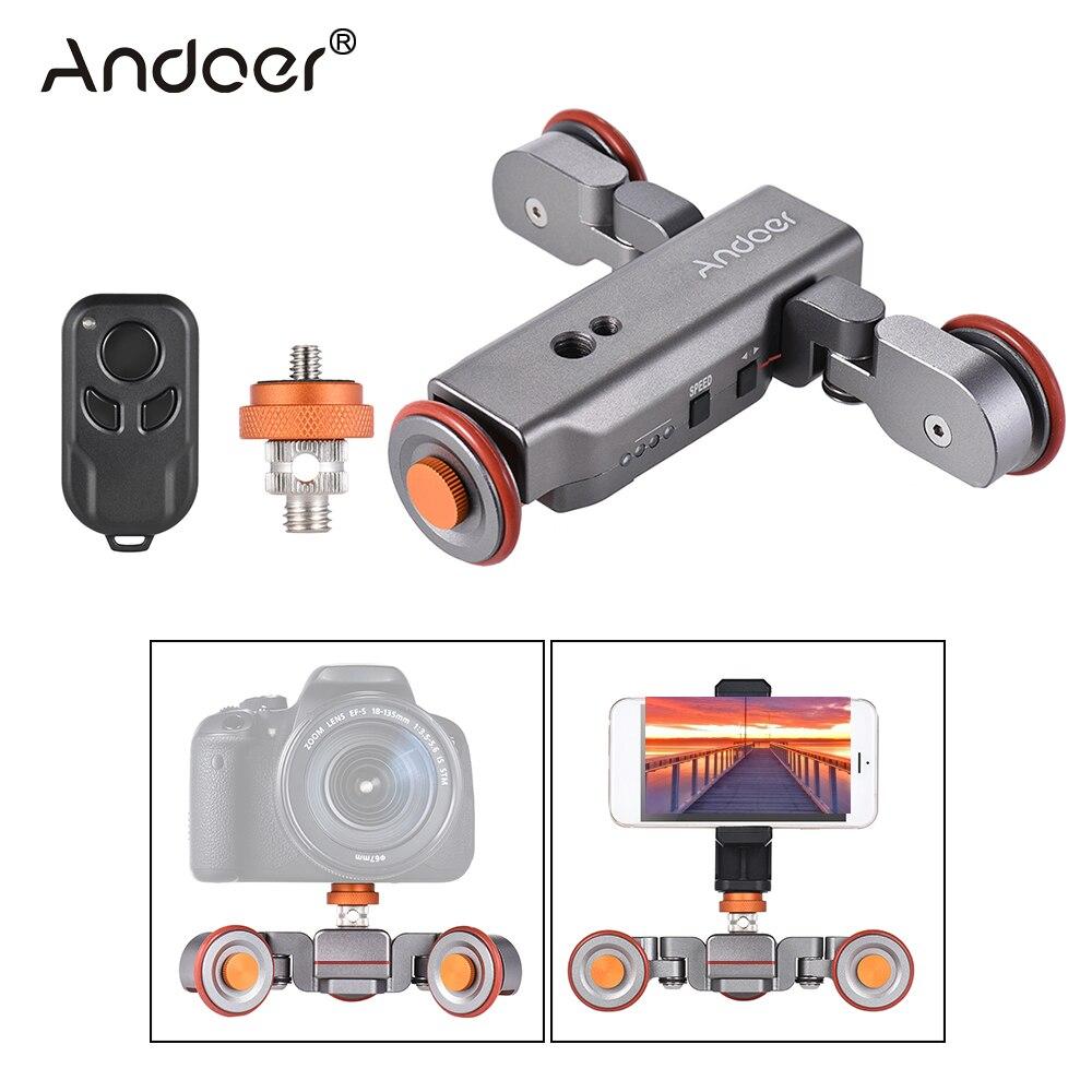 bilder für Andoer L4 Autodolly 3 Speed w/Drahtlose Fernbedienung Elektrische Motorisierte 3-rad Riemenscheibe Auto Slider Roll Skater für DSLR telefon