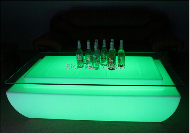 Remote Control Led Light Table Living Room Furniture Luxury Hotel Ktv Bar Tables Square Coffee Table