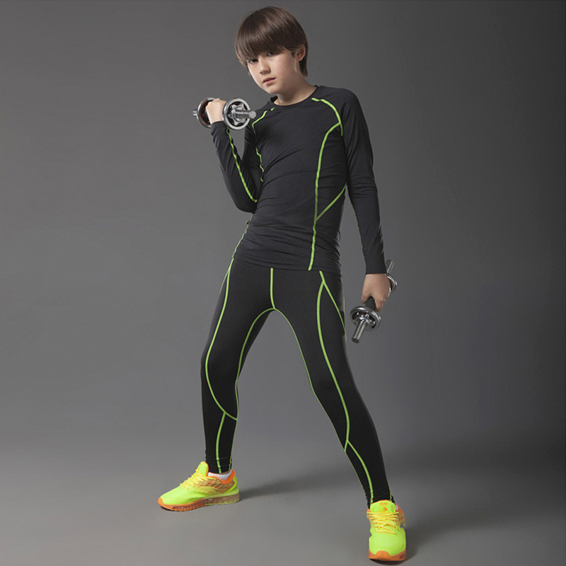 2018 Teenager Tracksuit For Men's Fitness Set Thermal Underwear Mma Rash Guard   Crossfit Shirts  Compression Clothing Brands