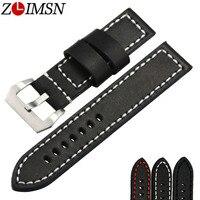 20mm 22mm 24mm New Men S Thick Black Leather Watch Band Strap Belt Bracelet SALE