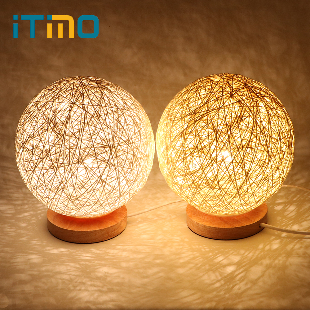 iTimo Wood Rattan Ball Design Night Light For Bedroom Decoration US Plug LED Table Lamp Bedside Atmosphere Lamp with E27 Bulb itimo wireless led bulb with remote control dimmable 220v e27 home indoor lighting night light us plug bedroom light lamp