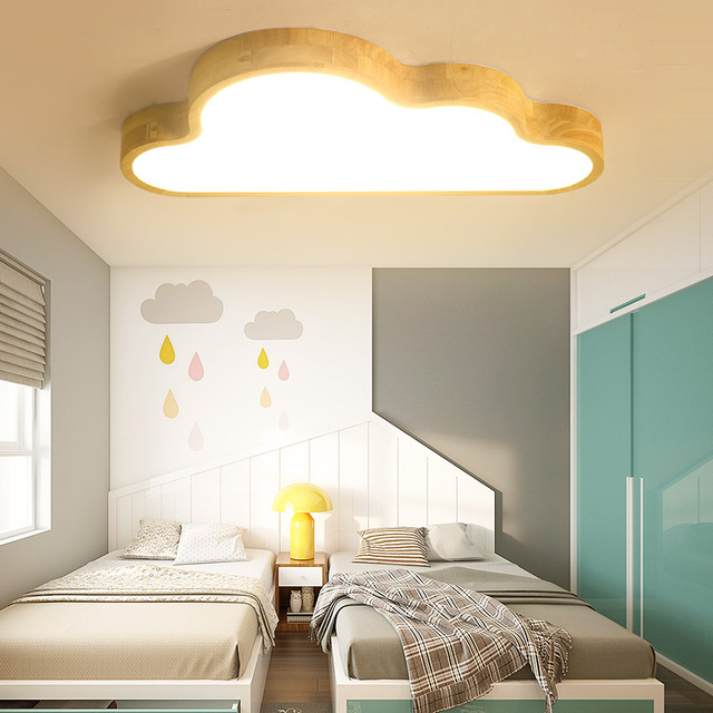 Nordic Children S Room Ceiling Lamp Wood Simple Bedroom Boy Creative Kids Lamps Clouds Ap4181638