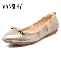 2017 New Pointed Toe Flat Women Casual Shoes Ballet Flats Shallow Mouth Single Gold Silver Comfortable