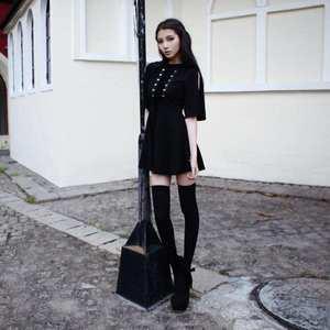 ec1ec3f40db Clobee Gothic Women Black Harajuku Straps Slim A Line Dress