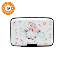 BONAMIE RFID Blocking Aluminum Wallet Business ID Credit Card Holder Case 6 Slots Unicorn Pattern Bank Card Box For Women Man