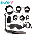IKOKY 7pcs Leather Bondage Kit Set Hand Cuffs Whip Rope Mask Collar Fetish Bondage Restraint Erotic Sex Toys for Couples SM Game
