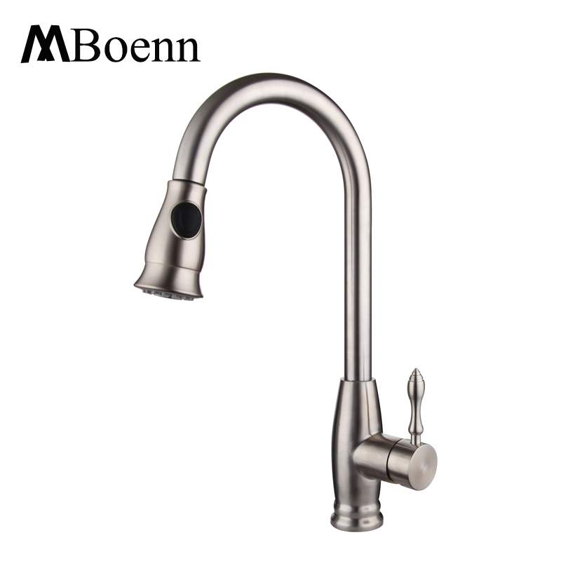 Pull out Spray Kitchen Faucet Mixer Tap Deck Mounted Sink Mixer Taps Single Handle Faucets 304 Stainless Steel Brushed Finish okaros nickel brushed 304 stainless steel kitchen sink faucet deck mounted basin tap cold