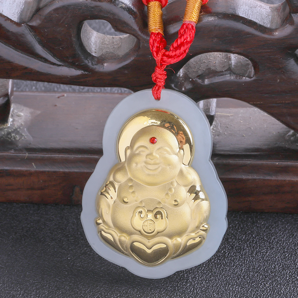 Здесь продается  2018 New Popular Stylish Gold Jade Pendant For Men Women Fine Quality Laughing Buddha Necklace Jewelry Free Shipping 8631  Ювелирные изделия и часы